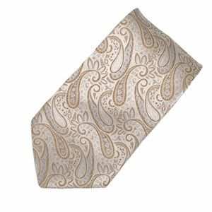 Sean John Paisley Tie, Cream, Gold, Silver, Blue